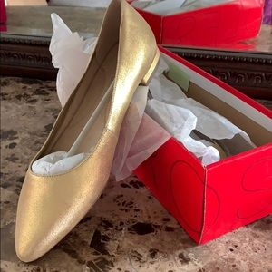Hey Girl Gold Leather Flats
